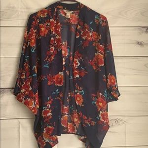 Open floral sheer cardigan